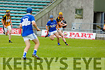 Tom Moloney of St Brendans in possession as Michael O'Leary of Abbeydorney is ready to tackle him, in R2 of the Senior Hurling Championship in Austin Stack Park on Sunday.