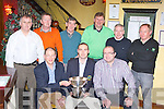 Murphy's Golf society who defeated the Killarney Heights in the Ryder cup in Laccabawn on Wednesday 28th December and received their prizes in Lord Kenmare's Killarney front row l-r: Sean Murphy President, Ger Moroney Captain, Padraig O'Brien. Back row: Pat Carroll, Matthew O'Connor, Conor O'Mahony, Pat Cussan, Mike Casey and Gerry Adams ......