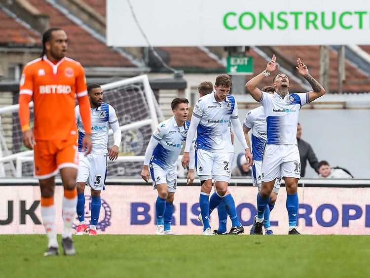 Bristol Rovers' Jonson Clarke-Harris (right) celebrates scoring his side's second goal <br /> <br /> Photographer Andrew Kearns/CameraSport<br /> <br /> The EFL Sky Bet League Two - Bristol Rovers v Blackpool - Saturday 2nd March 2019 - Memorial Stadium - Bristol<br /> <br /> World Copyright © 2019 CameraSport. All rights reserved. 43 Linden Ave. Countesthorpe. Leicester. England. LE8 5PG - Tel: +44 (0) 116 277 4147 - admin@camerasport.com - www.camerasport.com