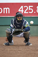 David Banuelos (48) of the Everett AquaSox catches in the bullpen before a game against the Boise Hawks at Everett Memorial Stadium on July 21, 2017 in Everett, Washington. Everett defeated Boise, 10-4. (Larry Goren/Four Seam Images)