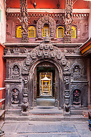 Nepal, Patan.  Entrance to the Golden Temple (Kwa Baha), a Buddhist Shrine where Shakyamuni (Gautama Siddartha)  is Worshipped.