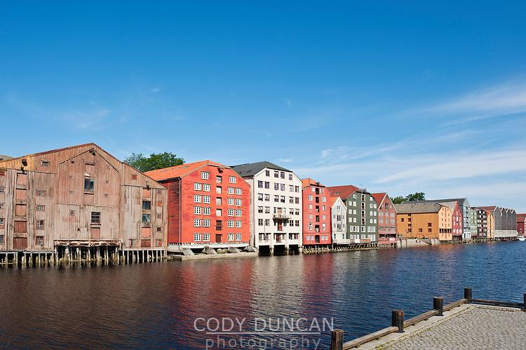 Waterfront buildings on Nidelva river, Trondheim, Norway