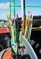 Arrows wait to be shot during opening day festivities at the U.S. Open Bowfishing Championship, Friday, May 2, 2014. The event is hosted and sponsored by Bass Pro Shops.<br /> <br /> Photo by Matt Nager