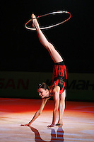 "Tamara Yerofeeva of Ukraine performs gala exhibition at 2007 World Cup Kiev, ""Deriugina Cup"" in Kiev, Ukraine on March 16, 2007. After great career competing for Ukraine, Tamara performed for Cirque du Soleil for 2-years from 2004-2006."