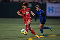 Seattle, WA - Saturday, May 14, 2016: Portland Thorns FC forward Hayley Raso (21). The Portland Thorns FC and the Seattle Reign FC played to a 1-1 tie during a regular season National Women's Soccer League (NWSL) match at Memorial Stadium.
