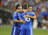 Frank Lampard (8) of Chelsea FC celebrates with team mates his score.  Chelsea FC defeated AS Roma 2-1, during an international friendly , at RFK Stadium, Saturday August 10 , 2013.