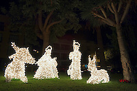 Spain, Canary Islands, La Palma, Los Llanos de Aridane: christmas scene, nativity set, illuminated