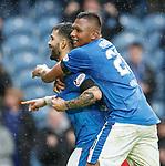 07.04.2018 Rangers v Dundee:<br /> Daniel Candeias celebrates his goal with Alfredo Morelos