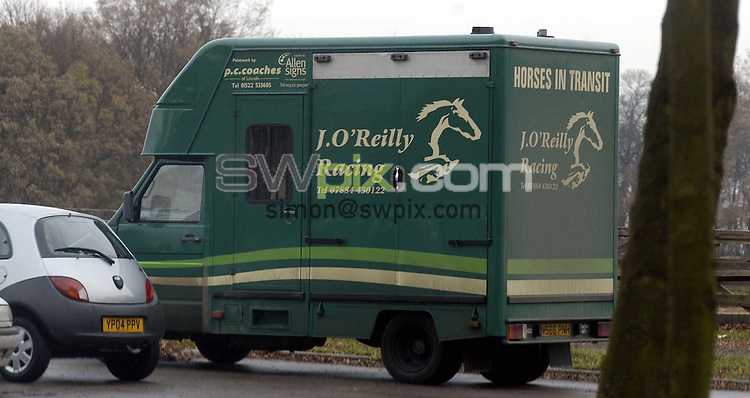 Pix: Simon Wilkinson/SWpix.com. Horse Racing. 25/11/2004..COPYRIGHT PICTURE>>SIMON WILKINSON>>07811 267 706>>..Jimmy O Reilly horse trailer pictured at Rossington Hall School home to The National Racing Centre see story Alan Fraser..
