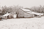 Old weathered white barn covered with snow