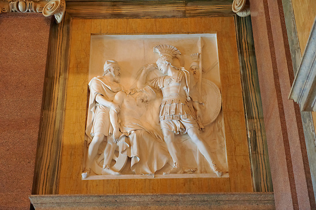Bas-relief detail from  the Bourbon Kings of Naples Royal Palace of Caserta, Italy.