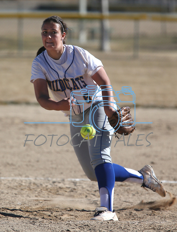 Western Nevada College's Ali Lostra pitches against Salt Lake Community College in a college softball game on Friday, Feb. 15, 2013, in Carson City, Nev. SLCC took the first game of the doubleheader 4-2..Photo by Cathleen Allison