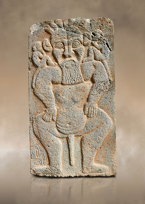 Pictures & images of the North Gate Hittite sculpture stele depicting the Egyptian God Bes. 8the century BC.  Karatepe Aslantas Open-Air Museum (Karatepe-Aslantaş Açık Hava Müzesi), Osmaniye Province, Turkey. Against art background