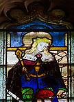 Sixteenth century stained glass window detail Fairford, Gloucestershire, England, UK hidden portrait Prince Edward 1470-1502