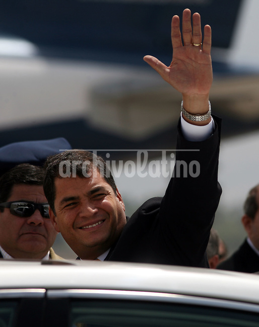President of Ecuador, Rafael Correa,  arrives to Santiago de Chile aiport to attend the XVII Iberoamerican Summit.