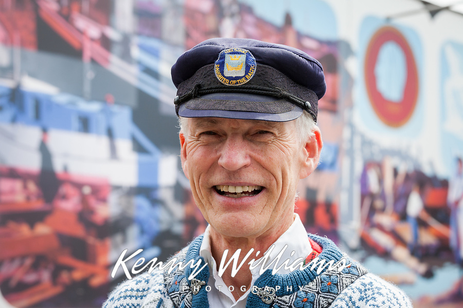 Man wearing traditional Norwegian clothing, 17th of May Festival 2016, Ballard, Seattle, WA, USA.