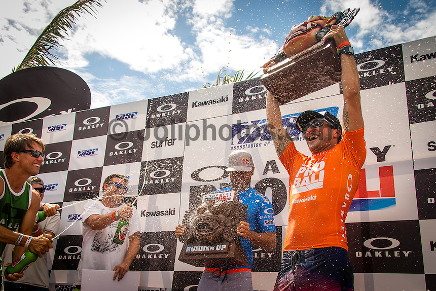 KERAMAS, Bali/Indonesia (Thursday, June 27, 2013) &ndash; Joel Parkinson (AUS), 32, has won the inaugural Oakley Pro Bali over Michel Bourez (PYF), 27, via an impressive come-from-behind effort in four-to-six foot (2 metre) waves at the iconic Balinese righthander of Keramas.<br /> <br /> Stop No. 5 of 10 on the ASP World Championship Tour (WCT), the Oakley Pro Bali hosted a historic high-performance showdown including perfect heats and next level progression from the world&rsquo;s best surfers, culminating with Parkinson&rsquo;s hard-fought victory over Bourez in the Final.<br /> <br /> Parkinson was quick to adapt to the changing conditions on the final day of action, besting fellow countrymen Taj Burrow (AUS), 35, and Josh Kerr (AUS), 29, en route to the Final. The natural-footer got off to a slow start on his road to victory, but an impressive series of fully-committed forehand combinations on a steep righthand wall would see the reigning ASP World Champion surpass the Tahitian in the final minutes for the win.<br /> <br /> The Oakley Pro Bali marks Parkinson&rsquo;s first ASP WCT victory of the season, vaulting the stylish Australian to No. 3 on the rankings and within striking distance of the 2013 ASP World Title.<br /> <br /> Michel Bourez attacked the flawless righthanders of Keramas with incredible power, besting two-time ASP World Champion Mick Fanning (AUS), 32, and dangerous rookie Nat Young (USA), 22, on his way to the Final. Bourez would hold the lead throughout the majority of the Final, but was unable to block Parkinson&rsquo;s late-heat charge, taking both a runner-up finish and the best ASP WCT result of his career.<br /> <br /> Nat Young (USA), 22, ASP WCT Rookie, continued to impress in Bali, threading excellent barrels and igniting deadly backhand turns at Keramas en route to a Semifinals finish. The Santa Cruz native was on the way to his second Final appearance of the season, but was stopped short by a rampaging Michel Bourez, finishing equal 3rd overall.<br /> Josh Kerr (AUS), 29, was deadly at the Oakley Pro Bali, reveling in