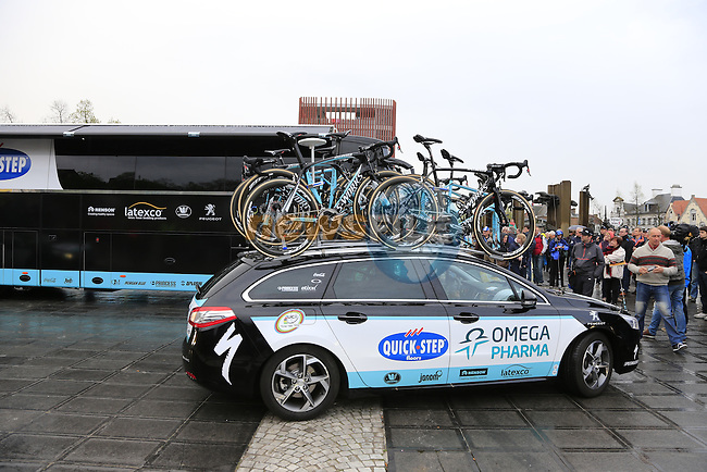 Omega Pharma-Quick Step team arrives for the start of the 2014 Tour of Flanders, Bruges, Belgium.<br /> Picture: Eoin Clarke www.newsfile.ie