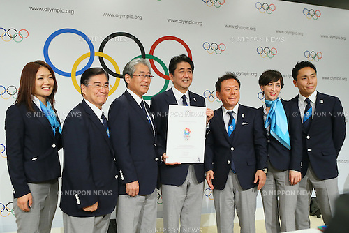 (L to R) <br /> Mami Sato, <br /> Masato Mizuno, <br /> Tsunekazu Takeda, <br />  Shinzo Abe, <br />  Naoki Inose, <br /> Christel Takigawa, <br /> Yuki Ota, <br /> SEPTEMBER 7, 2013 : <br /> Photo Session of press conference after their presentation of 2020 Summer Olympic Games bid final presentation during the 125th International Olympic Committee (IOC) session in Buenos Aires Argentina, on Saturday September 7, 2013. <br /> (Photo by YUTAKA/AFLO SPORT) [1040]