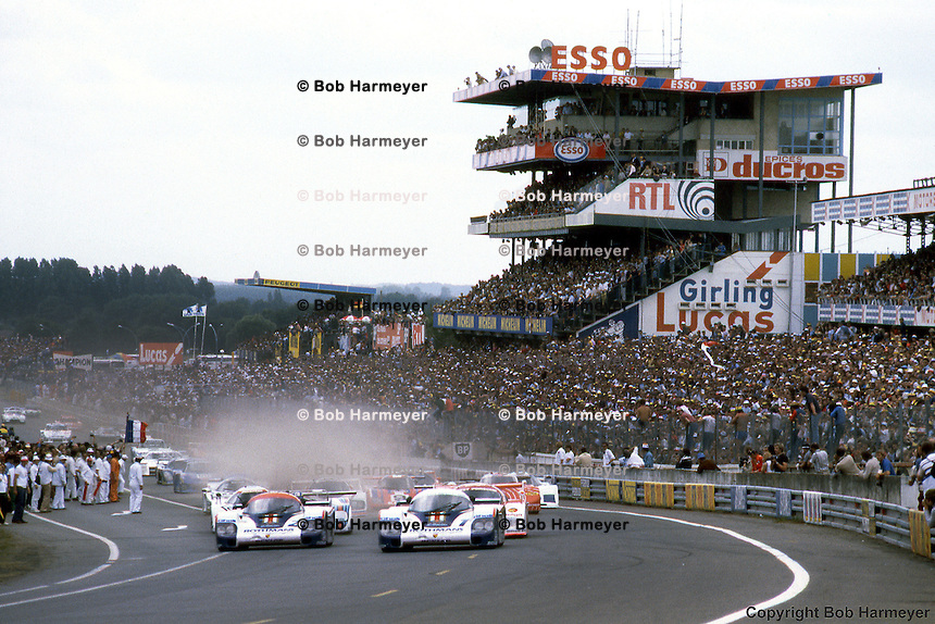 Porsches lead the start of the  1982 24 Hours of Le Mans in Le Mans, France.