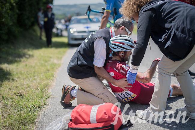 Tiago Machado (POR/Katusha-Alpecin) involved in a serious crash at the run-up of the Mont du Chat (1504m/8.7km/10.3%)<br /> <br /> Stage 6: Le parc des oiseaux/Villars-Les-Dombes &rsaquo; La Motte-Servolex (147km)<br /> 69th Crit&eacute;rium du Dauphin&eacute; 2017