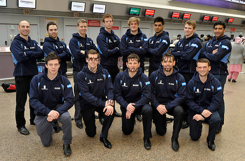 The Scotland squad leave Glasgow Airport heading for an 4-day Intercontinental Cup match in Sharjah (UAE) followed by a training camp in Sri Lanka before returning to Dubai (UAE) to take part in the World T20 Trophy Qualifier series - they are (back row l to r) Simon Smith (Grange CC) – Preston Mommsen (Carlton CC) – Ryan Flannigan (Grange CC) – Ally Evans (Carlton CC) – Matthew Parker (Forfarshire CC) – Safyaan Sharif (Clydesdale CC) – Richie Berrington (Greenock CC) – and Majid Haq (Clydesdale CC). (front row l to r) Freddie Coleman (Walmley CC) –  Calum MacLeod (Uddingston CC) – Gordon Drummond (Captain – Carlton CC) – Gordon Goudie (Stoneywood-Dyce CC)  and Craig Wallace (Forfarshire CC) – picture by Donald MacLeod 10.2.12 www.donald-macleod.com clanmacleod@btinternet.com