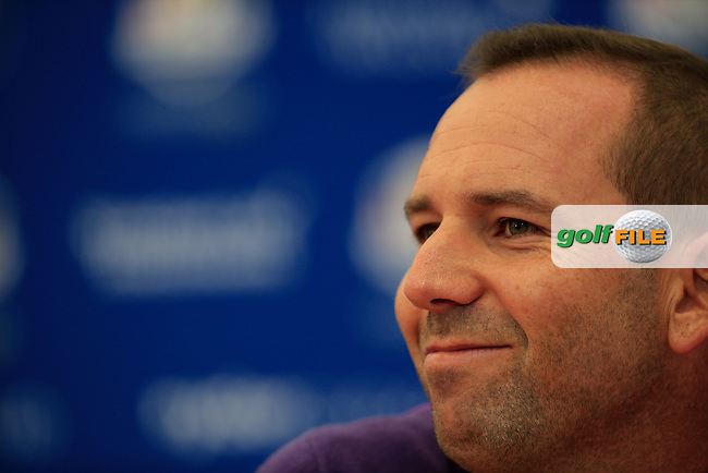 Sergio Garcia (EUR) during there media interview ahead of practice on wednesday at the 40th Ryder Cup, The Gleneagles Hotel, Perthshire from 26th to 28th September 2014<br /> Picture Fran Caffrey, www.golffile.ie
