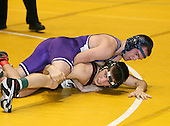 Corey Borshoff and Dan Riggi wrestle at the 125 weight class during the NY State Wrestling Championships at Blue Cross Arena on March 8, 2008 in Rochester, New York.  (Copyright Mike Janes Photography)