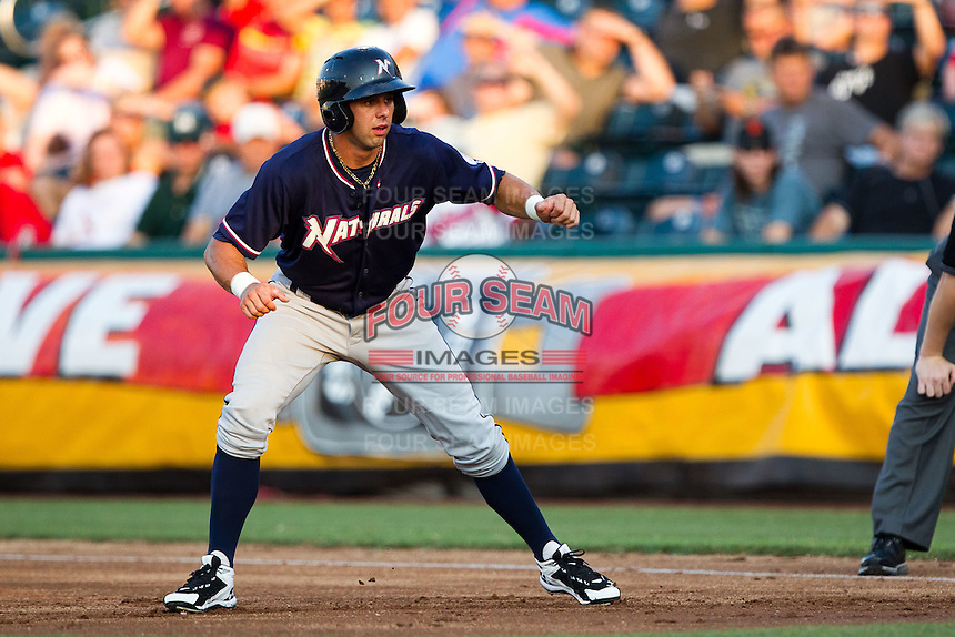 Nick Francis (3) of the Northwest Arkansas Naturals takes a lead off of first base during a game against the Springfield Cardinals at Hammons Field on August 1, 2011 in Springfield, Missouri. Springfield defeated Northwest Arkansas 7-1. (David Welker / Four Seam Images)