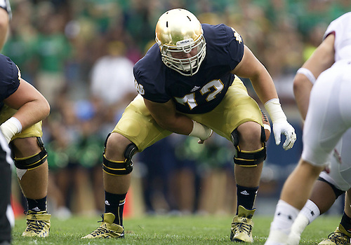 August 31, 2013:  Notre Dame Fighting Irish offensive lineman Nick Martin (72) during NCAA Football game action between the Notre Dame Fighting Irish and the Temple Owls at Notre Dame Stadium in South Bend, Indiana.  Notre Dame defeated Temple 28-6.