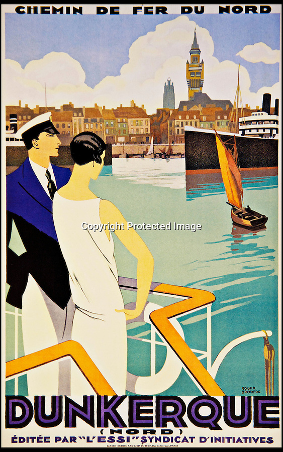 BNPS.co.uk (01202 558833)<br /> Pic: ThamesHudson/BNPS<br /> <br /> ***Please use full byline***<br /> <br /> Roger Broders, 1930. Broders' only design for Compagnie des Chemins de Fer du Nord service to Dunkirk. <br /> <br /> The golden age of poster art has been captured in a sumptuous new book of Art Deco design from the 1920's and 30's.<br /> <br /> And ironically the stunning but throwaway designs now sell for tens of thousands of pounds as modern collectors appreciate the unique design's from a halcyon age.<br /> <br /> Author Willian Crouse has illustrated his book with over 300 posters from his own vast collection of art accumulated over the last 30 years.