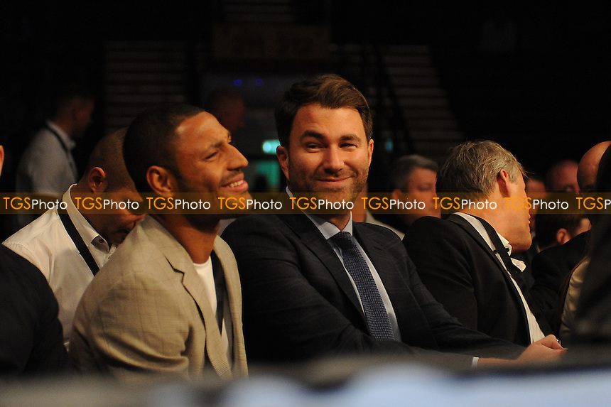 Eddie Hearn chats to Kell Brook - Boxing at the Metro Radio Arena, Newcastle, promoted by Matchroom Sports - 04/04/15 - MANDATORY CREDIT: Steven White/TGSPHOTO - Self billing applies where appropriate - contact@tgsphoto.co.uk - NO UNPAID USE