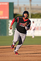 Josh Naylor (32) of the Lake Elsinore Storm runs the bases during a game against the Lancaster JetHawks at The Hanger on June 12, 2017 in Lancaster, California. Lancaster defeated Lake Elsinore, 13-6. (Larry Goren/Four Seam Images)