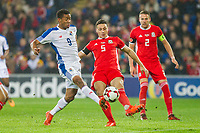 James Chester of Wales clears from Gabriel Torres of Panama during the International Friendly match between Wales and Panama at the Cardiff City Stadium, Cardiff, Wales on 14 November 2017. Photo by Mark Hawkins.