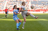 Bridgeview, IL - Sunday September 03, 2017: Taylor Comeau, Samantha Mewis during a regular season National Women's Soccer League (NWSL) match between the Chicago Red Stars and the North Carolina Courage at Toyota Park. The Red Stars won 2-1.