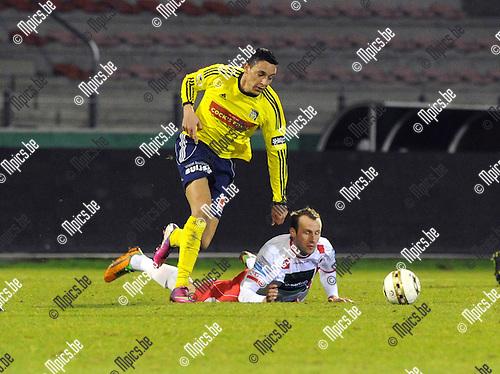 2013-03-09 / Voetbal / seizoen 2012-2013 / R. Antwerp FC - Sint-Niklaas / Jorn Vermeulen (Antwerp) gaat tegen de grond..Foto: Mpics.be