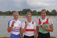 Brandenburg, GERMANY, left and Silver medalist, GBR, BW1X Kristina STILLER. Centre Gold medalist, GER BW1X, Julia RICHTER and right Bronze medalist, HUN BW1X, Katalin SZABO, awards dock, 2008 FISA U23 World Rowing Championships, Sunday, 20/07/2008, [Mandatory credit: Peter Spurrier Intersport Images].... Rowing Course: Brandenburg, Havel Rowing Course, Brandenburg, GERMANY