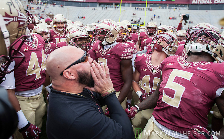 Florida State strength and conditioning coach Vic Viloria, center, fires up the Seminoles prior to an NCAA college football game against Boston College in Tallahassee, Fla., Saturday, Nov. 22, 2014.  Florida State defeated Boston College 20-17. (AP Photo/Mark Wallheiser)