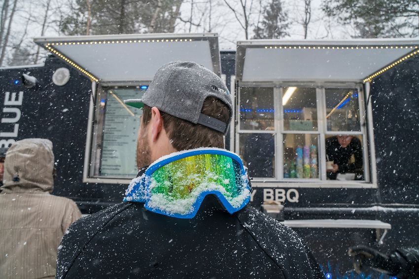Visiting a bbq food truck while winter fat biking in Marquette, Michigan.
