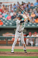 Clinton LumberKings Connor Scott (13) at bat during a Midwest League game against the Great Lakes Loons on July 19, 2019 at Dow Diamond in Midland, Michigan.  Clinton defeated Great Lakes 3-2.  (Mike Janes/Four Seam Images)
