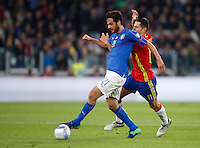 Italy Marco Parolo, left, is challenged by Spain Vitolo during the Fifa World Cup 2018 qualification soccer match between Italy and Spain at Turin's Juventus Stadium, October 6, 2016. The game ended 1-1.<br /> UPDATE IMAGES PRESS/Isabella Bonotto