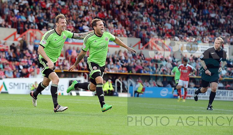 Billy Sharp of Sheffield United celebrates scoring his goal to make it 2-0<br /> - English League One - Swindon Town vs Sheffield Utd - County Ground Stadium - Swindon - England - 29th August 2015 <br /> --------------------