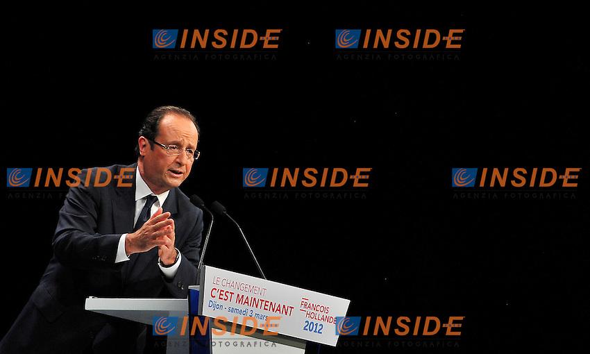 Francois Hollande.Dijon 4/3/2012.Campagna elettorale elezioni presidenziali 2012.Foto Insidefoto / Christian Liewig / FEP / Panoramic