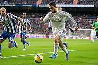 Real Madrid´s Isco and Deportivo de la Coruna's Laureano Sanabria Ruiz during 2014-15 La Liga match between Real Madrid and Deportivo de la Coruna at Santiago Bernabeu stadium in Madrid, Spain. February 14, 2015. (ALTERPHOTOS/Luis Fernandez) /NORTEphoto.com