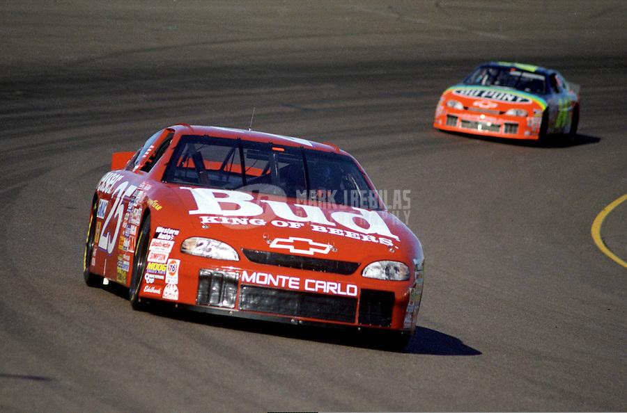Nov. 1, 1997; Avondale, AZ, USA; NASCAR Winston Cup Series driver Ricky Craven leads teammate Jeff Gordon during the Dura Lube 500 at Phoenix International Raceway. Mandatory Credit: Mark J. Rebilas-