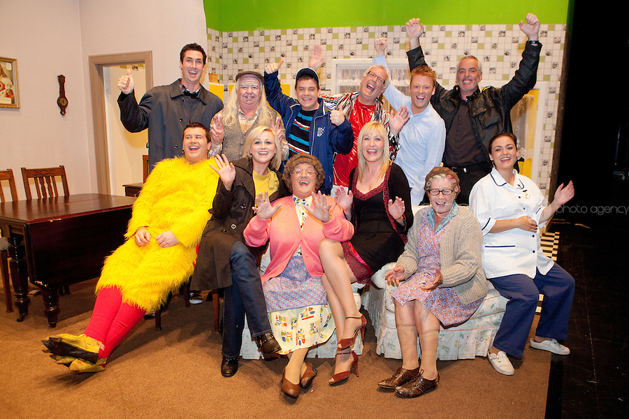 NO REPRO FEE.26/4/2011.Pictured - Brendan O Carroll and the cast of GOOD MOURNING MRS BROWN celebrating last night with the news that Mrs Brown's Boys has been nominated for a BAFTA, while over 20,000 tickets have been sold for their Olympia Theatre run forcing theatre promoters MCD to add an extra week of performances until 14th May Picture James Horan/Collins Photos
