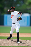 GCL Orioles Janser Severino #45 during a Gulf Coast League game against the GCL Red Sox at Ed Smith Stadium on July 18, 2012 in Sarasota, Florida.  GCL Red Sox defeated the GCL Orioles 16-1.  (Mike Janes/Four Seam Images)
