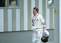 Otago's Camden Hawkins retires hurt during day two of the Plunket Shield cricket match between the Wellington Firebirds and Otago Volts at the Basin Reserve in Wellington, New Zealand on Tuesday, 22 October 2019. Photo: Dave Lintott / lintottphoto.co.nz