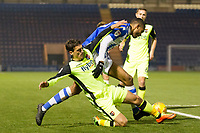 Mikael Mandron of Colchester United goes down under pressure from Craig Woodman of Exeter City during Colchester United vs Exeter City, Sky Bet EFL League 2 Football at the JobServe Community Stadium on 24th November 2018