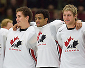 Leland Irving (Swan Hills, AB - Everett Silvertips), Kenndal McArdle (Burnaby, BC - Vancouver Giants), Karl Alzner (Buranby, BC - Calgary Hitmen) - Team Canada (gold), Team Russia (silver) and Team USA line up for the individual awards and team medal presentations following Team Canada's 4-2 victory over Team Russia to win the gold in the 2007 World Championship on Friday, January 5, 2007 at Ejendals Arena in Leksand, Sweden.